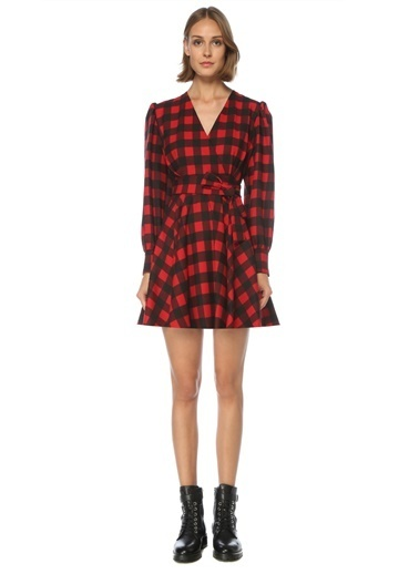 MSGM MSGM  V Yaka Kareli Mini Anvelop Elbise 101524386 Kırmızı